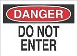 10''x14'' Black/Red on White Plastic DANGER Do Not Enter AgentSafety Sign