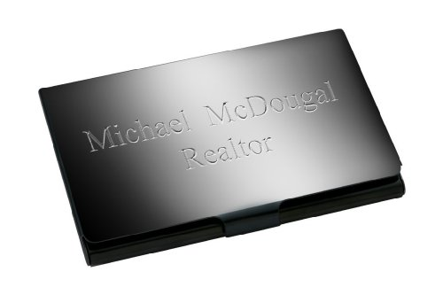 - Personalized Ice Black Gun Metal Stainless Steel Business Card Holder - Free Engraving
