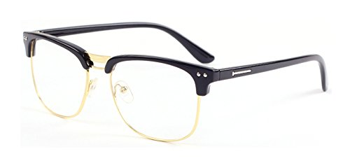 Outray Vintage Retro Half Frame Plain Clear Lens Glasses Black/Gold