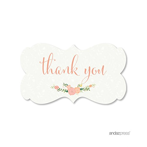 Andaz Press Floral Roses Girl Baby Shower Collection, Fancy Frame Label Stickers, Thank You, 36-Pack