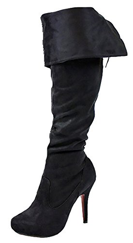 Ladies Womens Winter Biker Riding Style Flat Low Heel Calf Over Knee High Boots Size 3 - 8 new Style 9 - Black