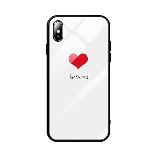 AIsoar Compatible for iPhone X Tempered Glass Case,Clear White Pattern Glass Back Soft Silicone Rubber Gel Shockproof Bumper [Anti-Yellow] Transparent Protective Cover - Love 2