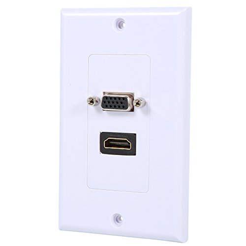 Eboxer HDMI VGA Wall Plate, High Speed Standard Size Face Plate Gold-plated Connector (Gold Plated Faceplates)