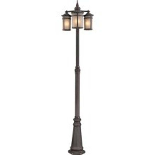 Artcraft Outdoor Post Mount Fixture With Frosted Glass Shades, Bronze Finish