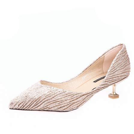 Aguja zapatos De alto Tacón Solos Yukun Salvaje Otoño Alto Mujeres de tacón Boca Champagne Tacón Mujeres Bajo Marea Zapatos De Zapatos Baja Estilete De aqzttdAxw