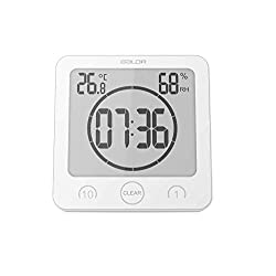 BALDR Digital Bathroom Shower Wall Clock Timer with Alarm, Waterproof for Water Spray, Touch Screen Timer, Temperature Humidity Display with Suction Cup Hanging Hole (White)