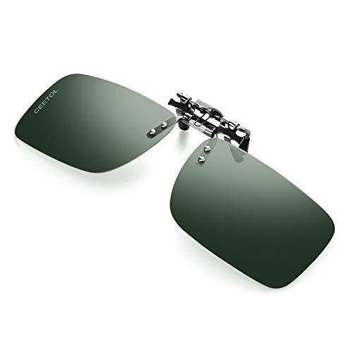 Polarized Clip-on Flip Up Sunglasses,Unisex Metal Frameless Rectangle Lens Over Prescription Glasses Eyeglass For Driving Fishing Outdoor Sport Sunglasses For Men ()