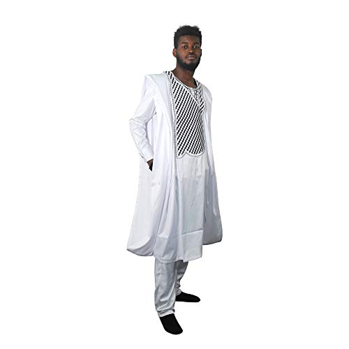 HD African Mens Clothing Fashion Agbada Outfit Kaftan Wear 3 Piece for Man Long Sleeves,XL White ()