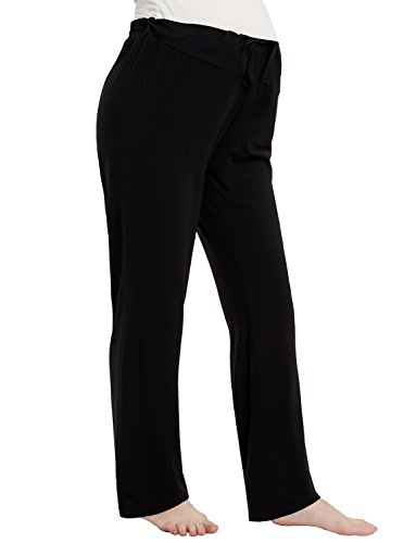 Trousers Pajama (Maternity Lounge Sleep Pants Comfy Cotton Palazzo Pregnancy Loose Straight Leg Trousers Pajamas Black S)