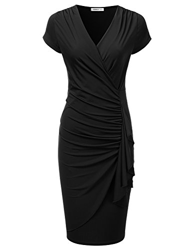 Ruched Surplice Dress - 1