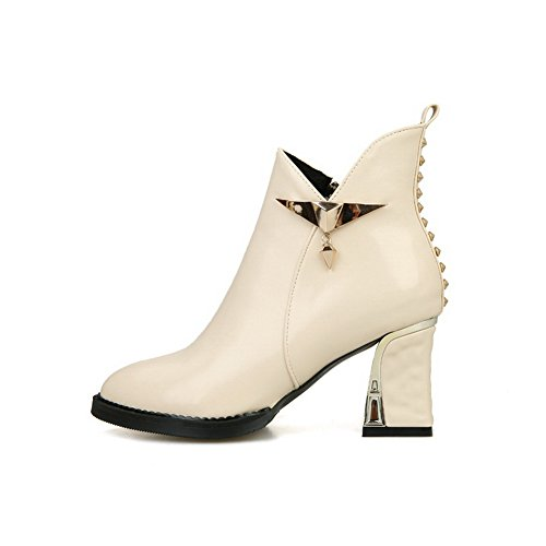 Beige Heels Ornament Imitated Leather Girls 1TO9 Metal Boots Chunky Rivet axERazFw