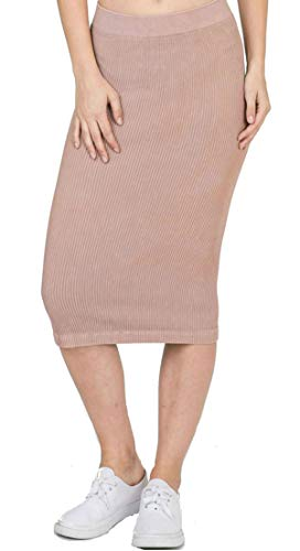 Ribbed Midi Skirt-Women's Knee One Size Fits All Ribbed Skirt, Fits Sizes 0-14 (Dusty Rose) ()