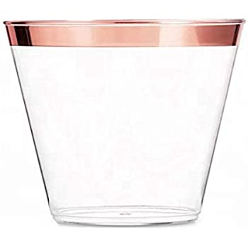 Amazon Rose Gold Rimmed Clear Disposable Plastic Party Cups