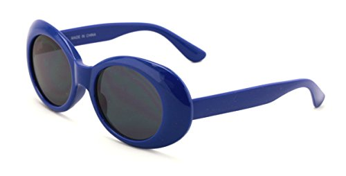 V.W.E. Vintage Sunglasses UV400 Bold Retro Oval Mod Thick Frame Sunglasses Clout Goggles with Dark Round Lens (Blue)