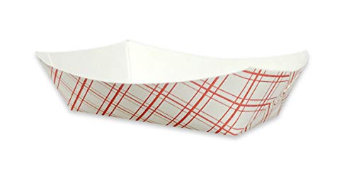 White with Red Plaid Disposable Paper Food Serving Tray - Small 25 pcs - Perfect for BBQ's, Picnics, Carnivals, Birthdays & Parties #50