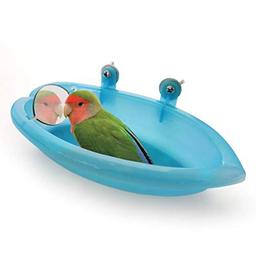 Wontee Bird Bath Box with Mirror Portable Parrot Hanging Bathroom Bathing Tub for Small Birds Cleaning Supplies