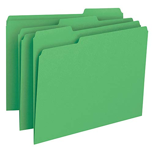 (Smead File Folder, 1/3-Cut Tab, Letter Size, Green, 100 per Box (12143))