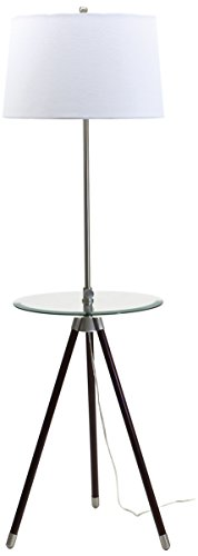 House of Troy TR202-SN Tripod Adjustable Floor Lamp with Table, Satin Nickel