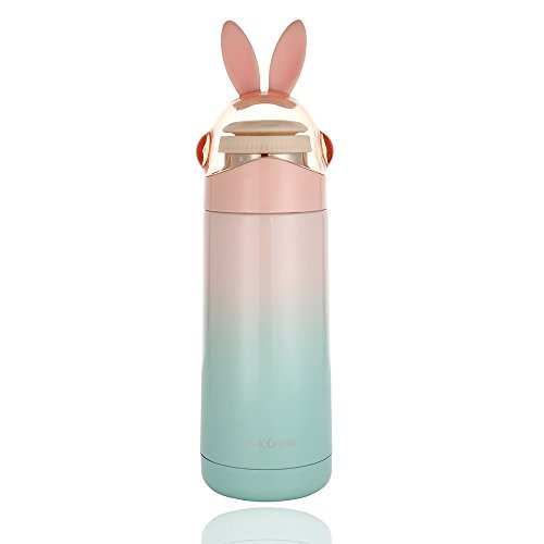 Kids Thermos, Cute Girls Water Bottle (12OZ), Mini Travel Mug, Rabbit Present for Birthday(PINK) -