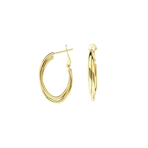 14k Yellow Gold Interwoven Plain Tube Oval Hoop Earrings Omega Clip by JewelryWeb