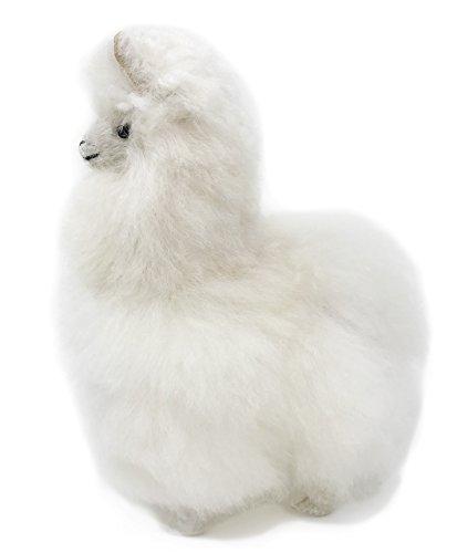 Standing Baby Alpaca Fur Alpaca Cria Figure - White 7 Inch