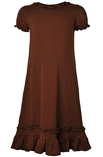 (Ipuang Girls' Casual Ruffle Short Sleeves Dress Brown)