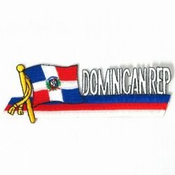 (Dominican Republic Sidekick Word Country Flag Iron on Patch Crest Badge .. 1.5 X 4.5 Inches ... New)