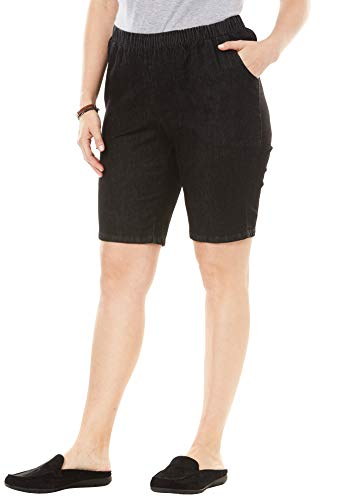 Woman Within Women's Plus Size Fineline Denim Short - Black Denim, 30 W