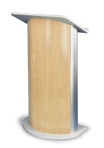 Hardrock Maple Curved Radius Lectern with Satin Anodized Aluminum