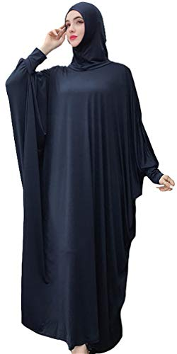 (YI HENG MEI Women's Muslim One-Piece Large Overhead Prayer Dress Hijab Abaya for Hajj Umrah,Navy Blue)