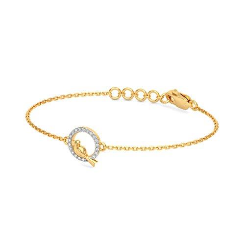 Or jaune 18K, 0,1ct tw Round-cut-diamond (Ij| SI) Identification-bracelets