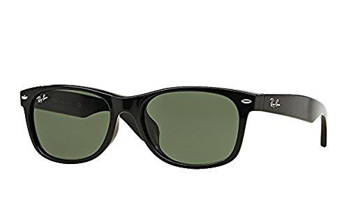 Ray-Ban New Wayfarer RB2132F Sunglasses Black/Crystal Green 58mm & Cleaning Kit Bundle