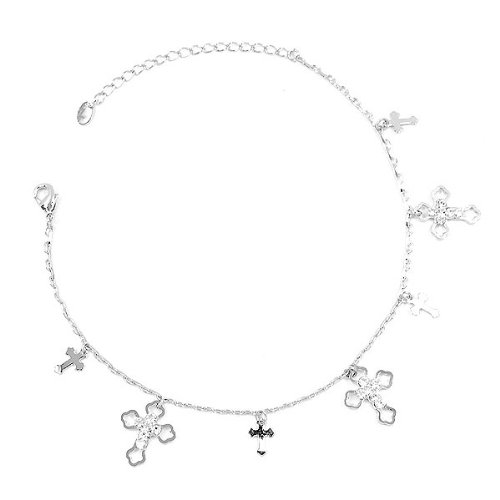 Glamorousky Elegant Cross on Anklet with Silver Austrian Element Crystals 1856