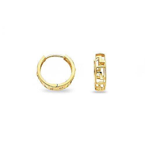 Small Greek Key (14k Yellow Gold Greek Key Huggie Hoop Earrings Fancy Small Round Huggies Genuine Solid 12 x 4 mm)