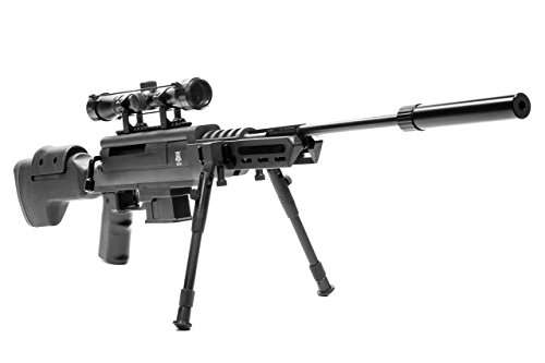 Black Ops Break Barrel Sniper Air Rifle - Spring Piston Sniper .22 Airgun - Shoot .22 BBs -Scope Included (Gas Powered Sniper Rifle Airsoft)