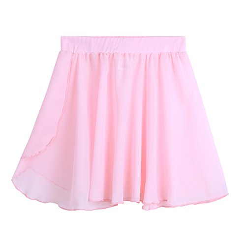 (Freebily Kid Girls Ballet Dance Chiffon Mini Pull-On Wrap Skirt Basic Classic Skate Over Scarf Tutu Skirts Ballerina Costume Pink 5-6 )