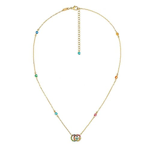 Gucci MULTICOLOR GG 18CT GOLD MULTI-COLOURED CRYSTAL NECKLACE YBB48162300100U