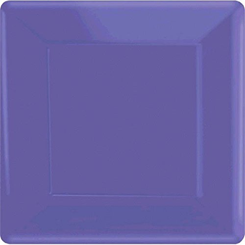 Amscan Party Ready Disposable Square Dinner Plates (20 Piece), Purple, 10.3 x 10.3