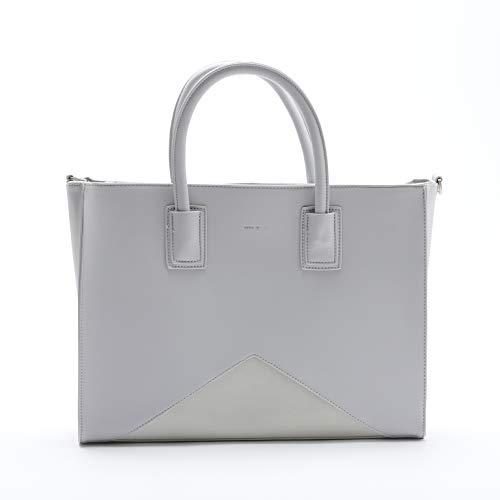 Greta Eye Catching Work School Travel Grey 16 x 12 Vegan Leather Tote Handbag