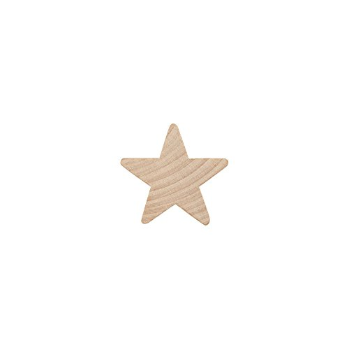 "1"" Wood Star, Natural Unfinished Wooden Star Cutout Shape (1 Inch) - Bag of 100 by Craftparts Direct"