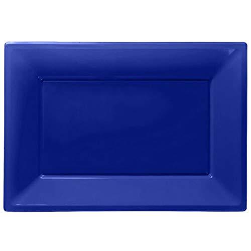 Rimi Hanger Adult Pack of 3 Plain Serving Plastic Platters Unisex 23cm x 32cm Party Trays Royal Blue One -