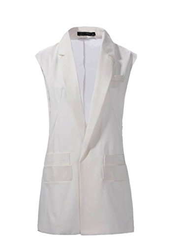 TM Womens Fashion Chiffon Tuxedo Sleeveless Blazer Jacket Vest White