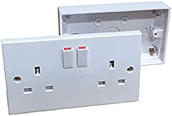 Enchufe de pared doble con 2 interruptores + caja trasera de 25 mm ...