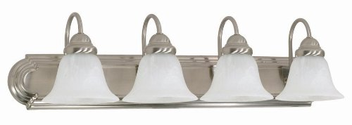 Vanity Glass Shade - Nuvo 60/322 Ballerina 4-Light 30-Inch Vanity Light with Alabaster Glass Shades, Brushed Nickel