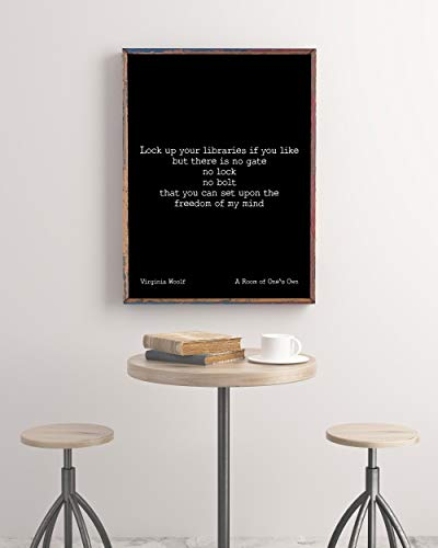 Arvier Virginia Woolf Book Quote Print A Room of Ones Own Motivation Print Inspirational Poster Psychology Art Print Freedom of My Mind Framed Wall Art