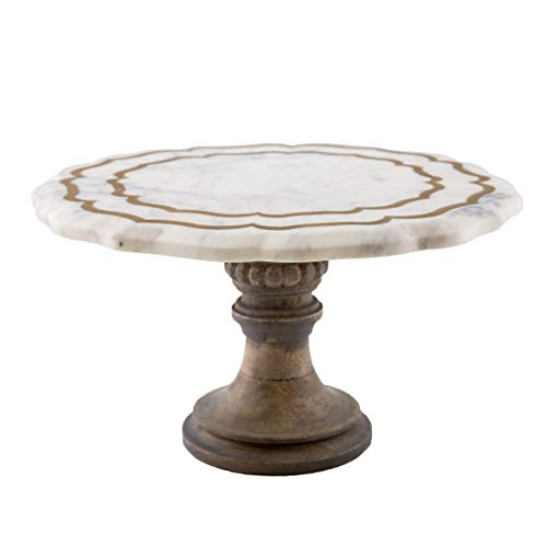 Thirstystone NMPTV126 Marble And Wood Pastry Stand, One Size, Brown (Marble Wood)