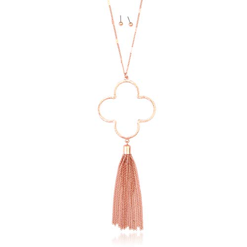 RIAH FASHION Bohemian Geometric Pendant Long Necklace - Boho Metallic Charm Layering Chain Moroccan Clover Quatrefoil/Floral Filigree/Tassel/Bar/Disc (Tassel Clover - Matte Rose Gold)