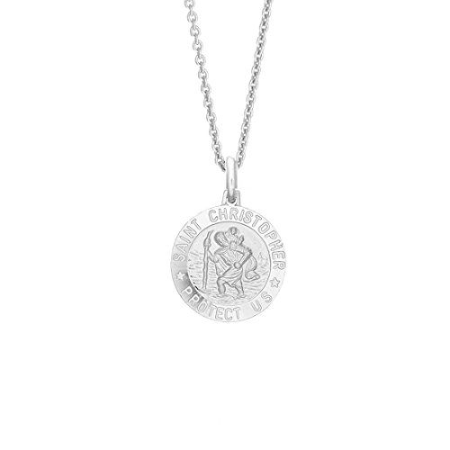 Sterling Silver Saint St Christopher Medal 15 mm Round Charm Pendant 20 Inches Necklace ()