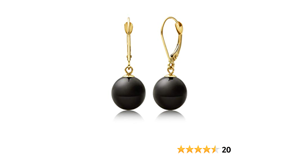EAR001114 Onyx and Ruby Drop 14k Yellow Gold Handmade Earrings