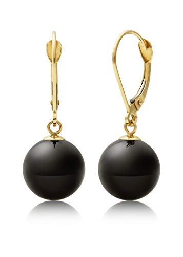Earrings Drop 14k Onyx (14k Yellow Gold Natural Black Onyx Drop Dangle Earrings)